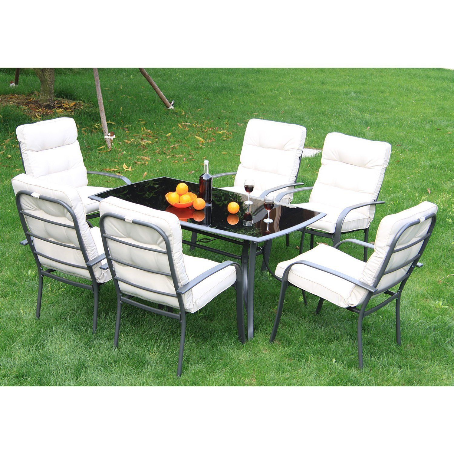 Outsunny 7pc Metal Dining Set Table Chairs Set Garden Patio