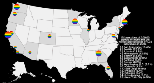 15 Large Us Cities With The Highest Rates Of Lgb Population Lgb Map City