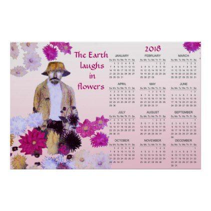 Dahlia Garden Flowers Emerson Quote 2018 Calendar Poster   #floral