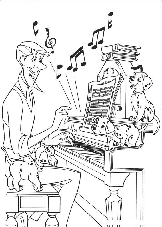 music coloring pages  101dalmatianslistenmusic