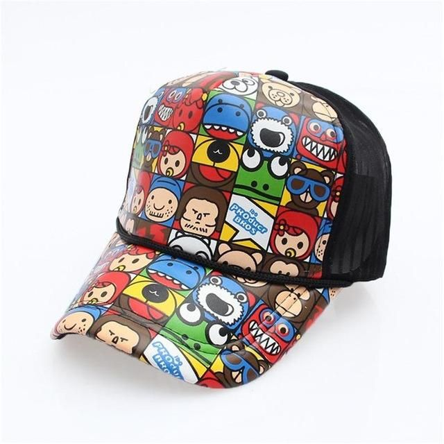 2018 New Fashion Cartoon Net Hat Baseball Caps Wholesale Adjustable Fitted  Hats Casual Letter Printing Wash Cap For Men Women eeb4532d617c