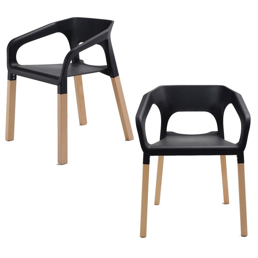 Cozyblock Amy Series Black Modern Accent Dining Arm Chair With