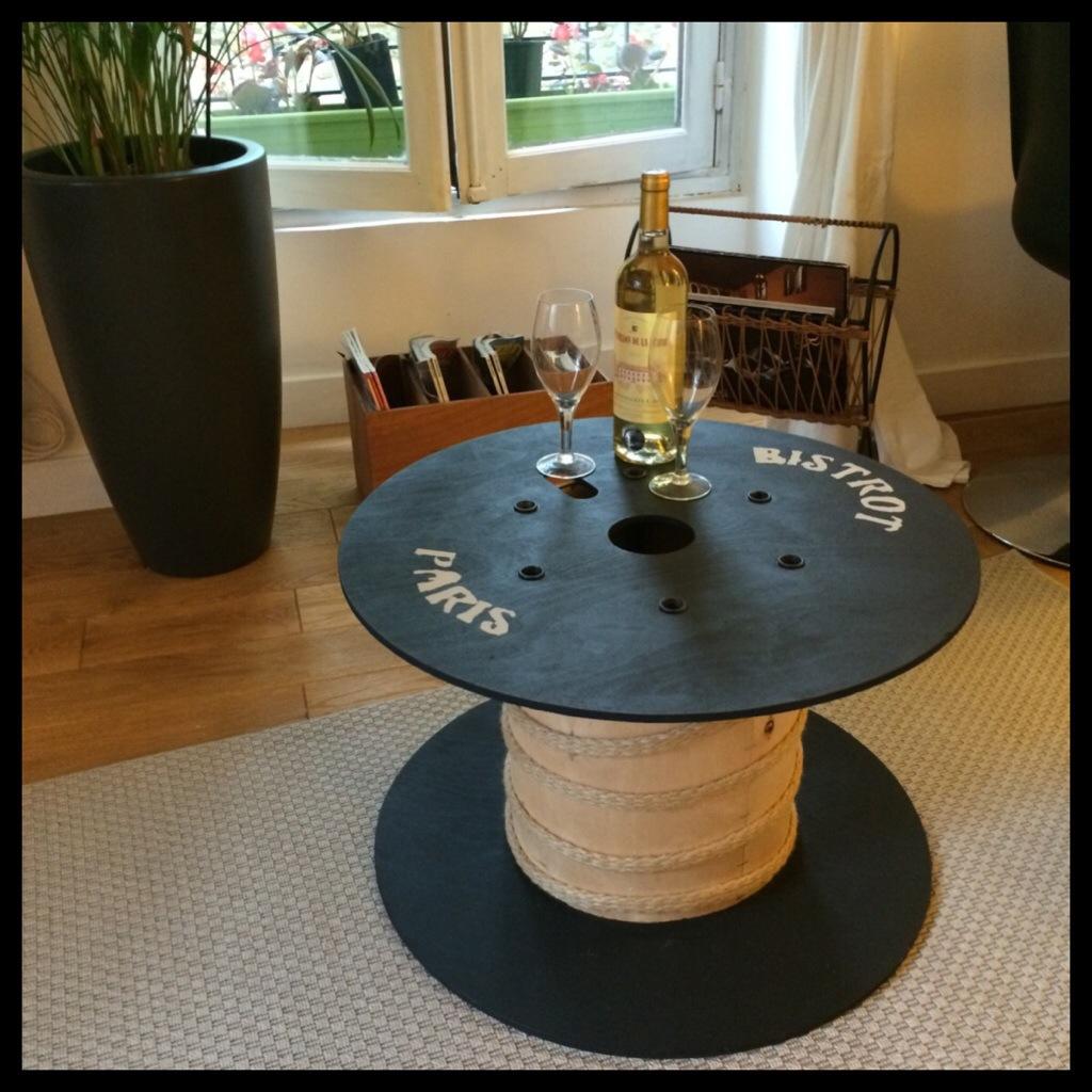 table basse bobine objets cr atifs pinterest bobine. Black Bedroom Furniture Sets. Home Design Ideas
