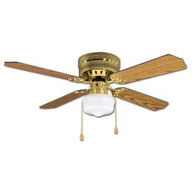 Litex Industries Celeste Hugger 42 Inch Hugger Ceiling Fan, Bright Brass  Finish, Single Light Kit With 4 Blades
