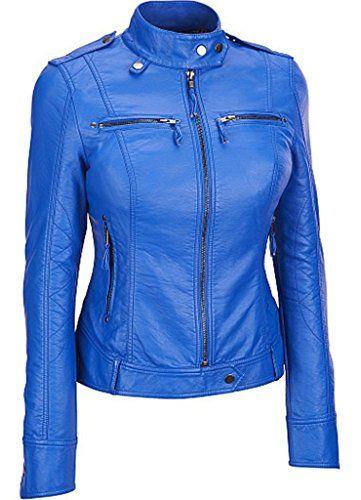 Stylish Womens Biker Slim Fit Sheep Leather Casual Jacket...