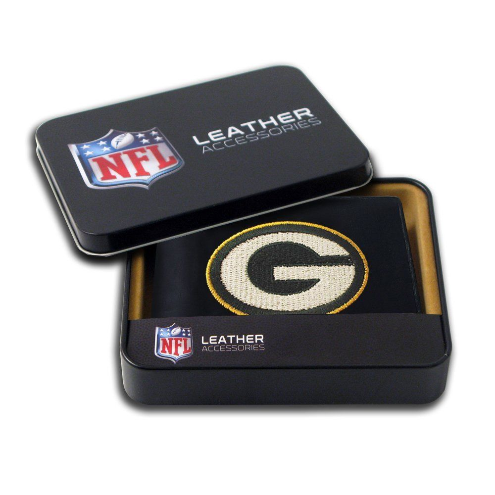 Amazon Com Nfl Green Bay Packers Embroidered Genuine Leather Billfold Wallet Sports Fan Wallets Sp Leather Billfold Billfold Wallet Leather Bifold Wallet