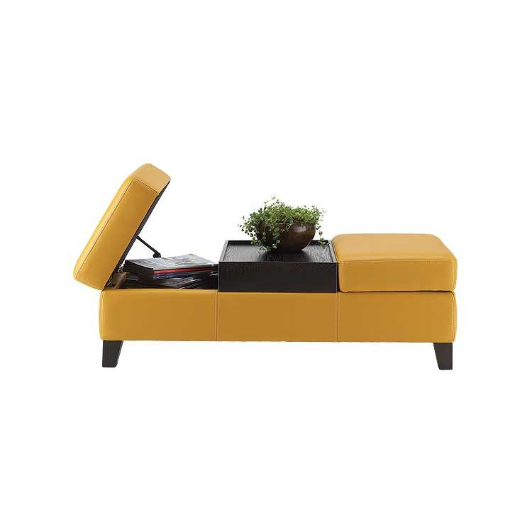 Great Yellow Leather Storage Ottoman   Living Room Furniture Seattle