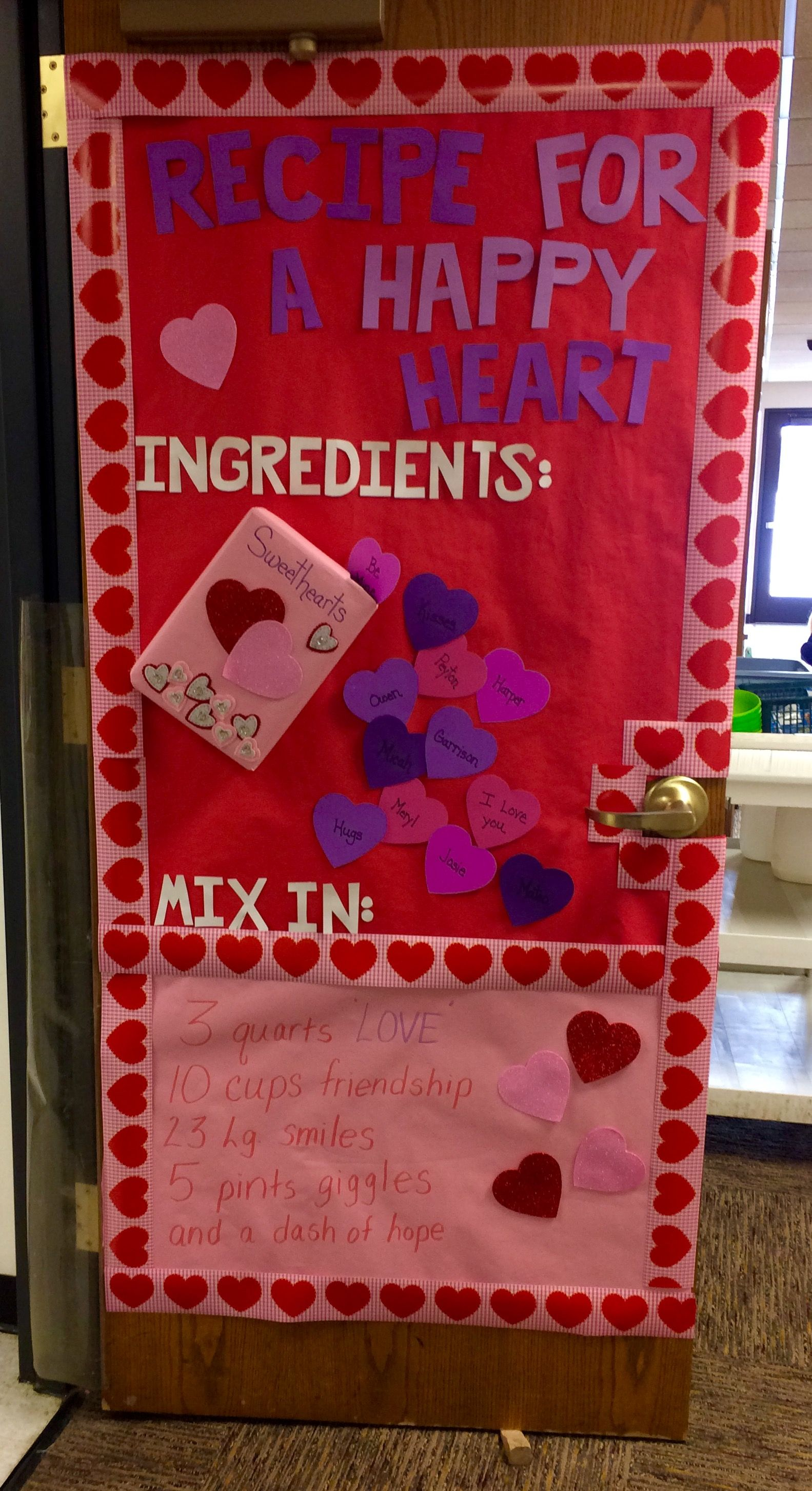 Recipe For A Happy Heart Valentine S Day Classroom Door Idea Valentines Door Decorations Classroom Elementary Valentines Door Decorations Classroom