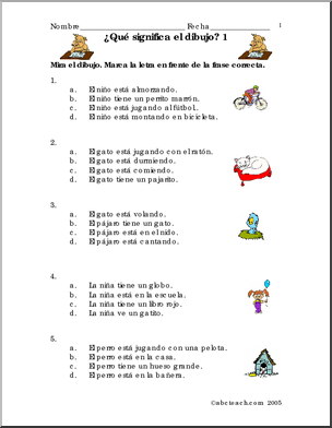 Spanish Frases Con Dibujos 1 Practice Vocabulary And