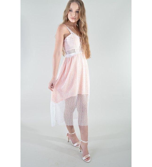 2eba3488748 Lovemystyle Crochet Net Midi Dress In Pink And White