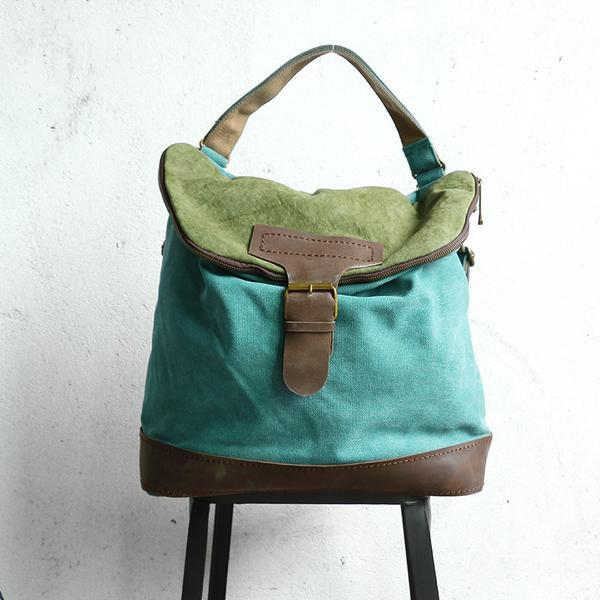 2944032dd49 Women Canvas Casual Leather Green Backpack Yummy color combination--try it.
