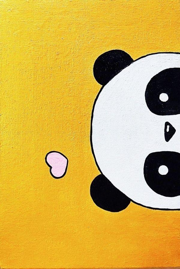 Kavka Designs Panda Grey//Black//Orange Canvas Art  Small