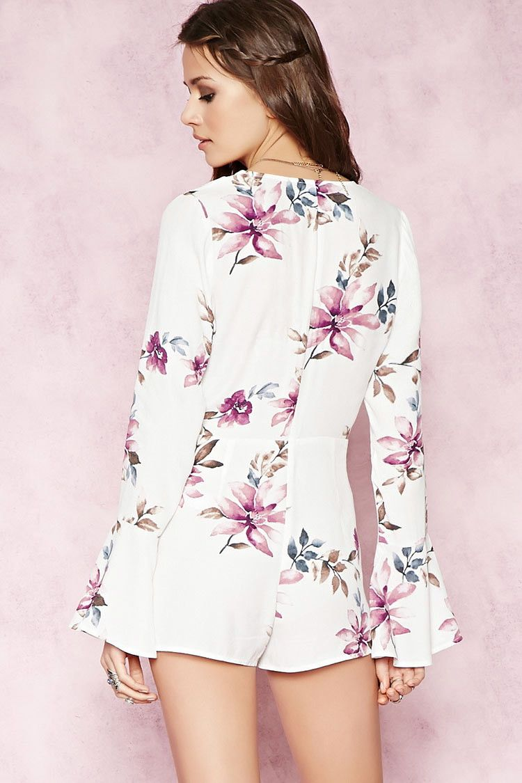 4372cab64a65 Floral Self-Tie Romper - watercolor floral - Forever 21