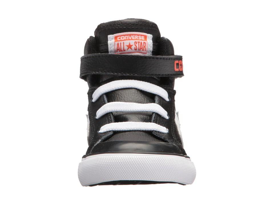 36d6898e8f9b7f Converse Kids Pro Blaze Strap Hi (Infant Toddler) Girls Shoes Black White Bright  Poppy