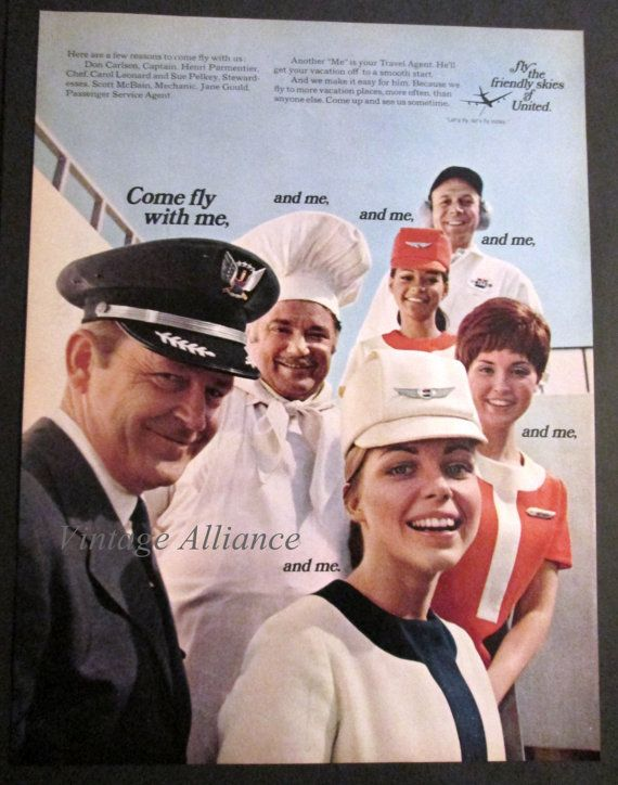 1969 Fly The Friendly Skies United Airlines Stewardess
