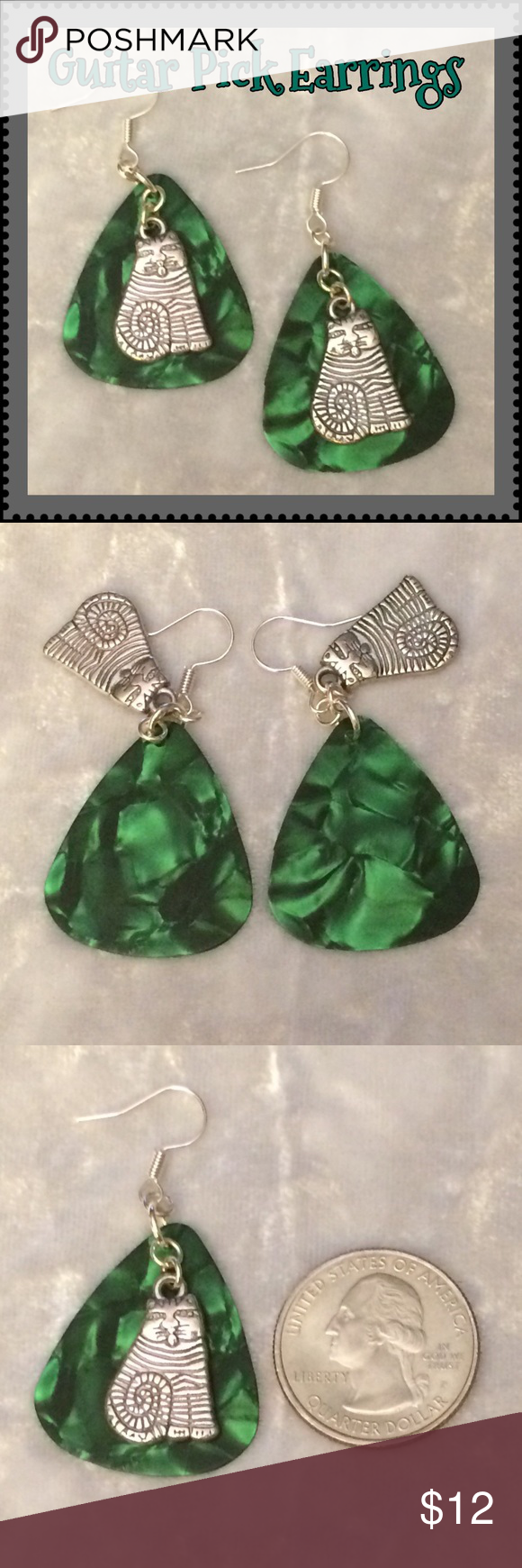 "Emerald Green Pearlescent Guitar Pick Cat Earrings These earrings are made with genuine green pearlescent celluloid guitar picks, Tibetan antique silver cat charms & silver-plated ear wires & rings. 2"" including ear wire*. Handcrafted by me.   *Can be replaced w/ Sterling Silver for an additional $1. Comment for custom listing.  Jewelry items priced firm as a single purchase due to material cost & PM fees.   Bundle special on guitar pick/choker/charm jewelry ONLY: Any 2 items for $20. Make…"