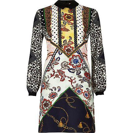 224d62937706 Yellow printed swing shirt dress  90.00 White Long Sleeve Dress