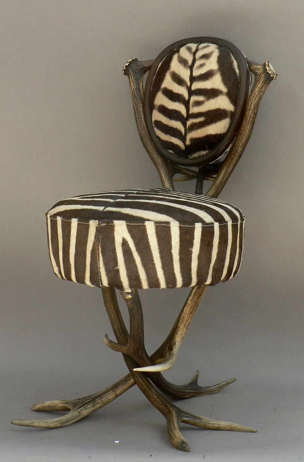 Antique black forest antler chair with zebra skin antlerhorn