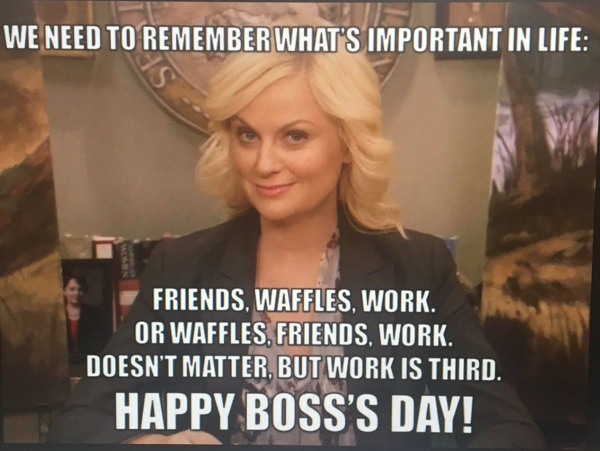 Happy Boss Day Funny Images Leslie Knope Leslie Knope Quotes Leslie Knope Meme