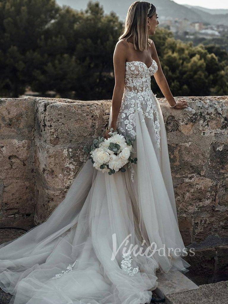 Strapless Champagne Lace Boho Wedding Dresses Beaded VW20   Boho ...