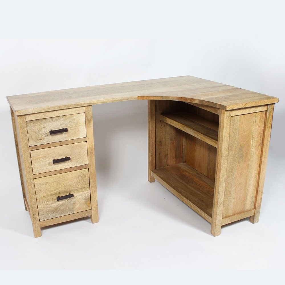 bureau d 39 angle en bois massif bois de manguier un bois. Black Bedroom Furniture Sets. Home Design Ideas