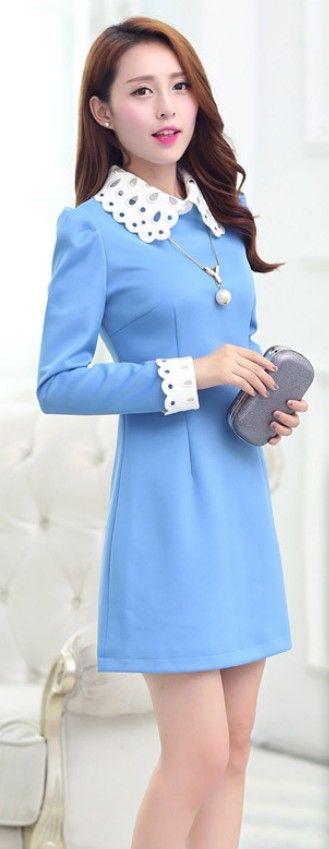 Classy Mini Dress Crocheted Collar and Cuffs YRB0317 £15.70