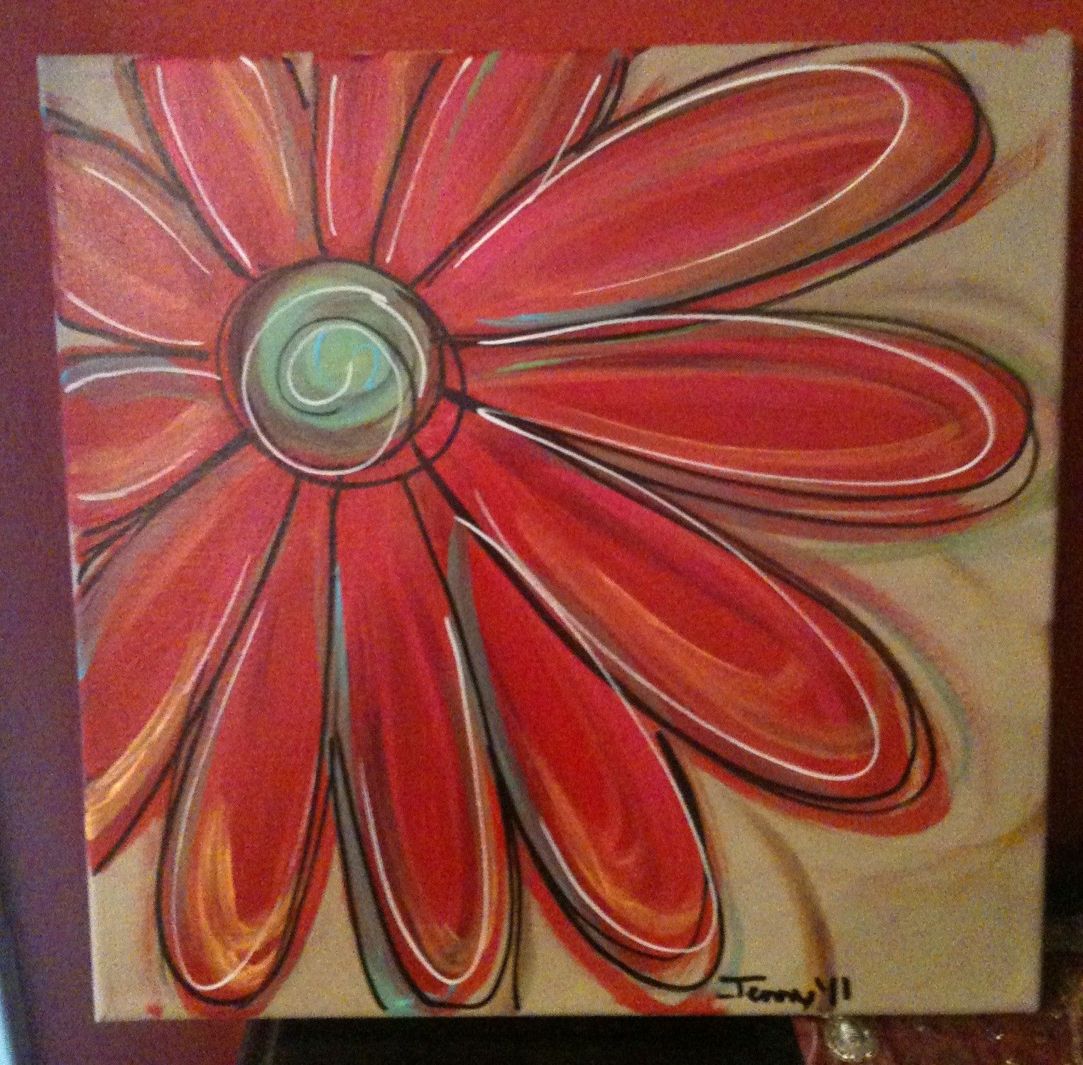 Cross paintings on canvas daisy paintings jenny hall for Simple easy paintings