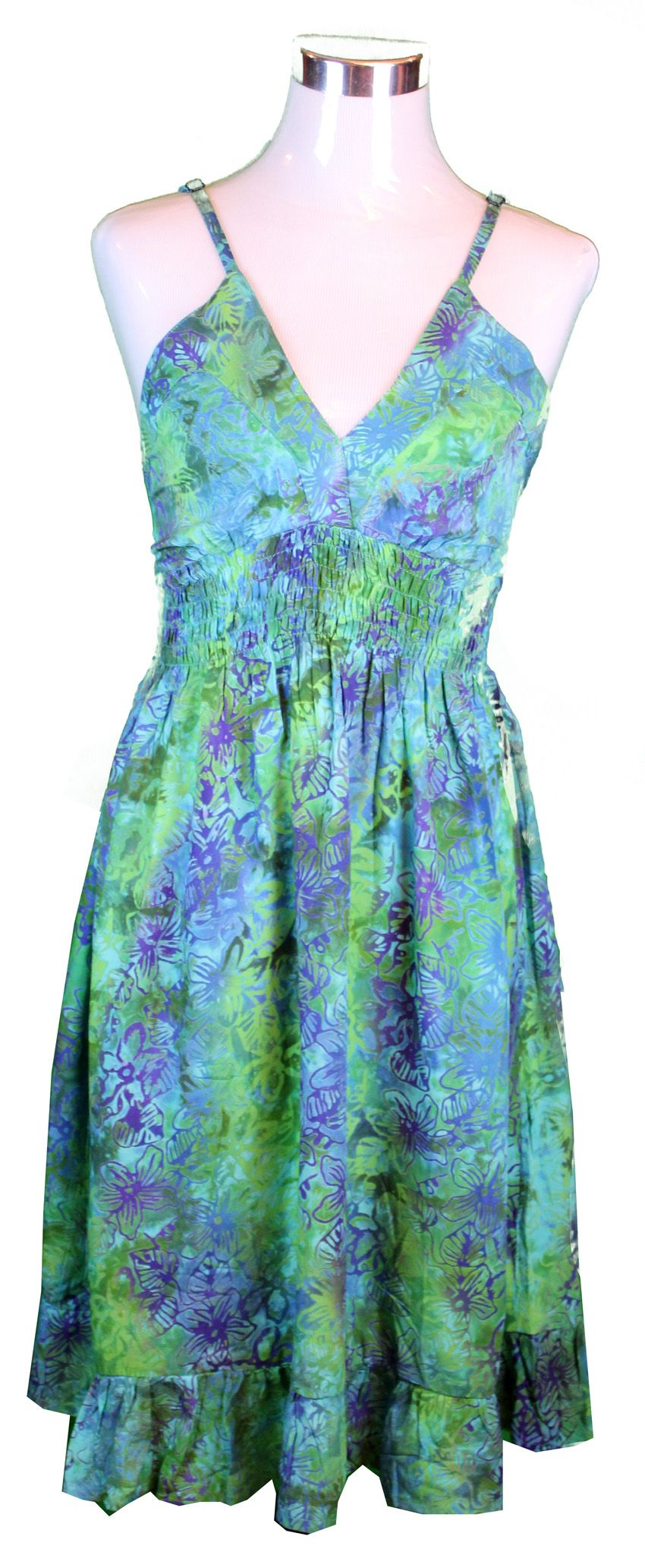 Rample Elastic Luau Dress in Green Batik Hibiscus | Luau dress, Luau ...