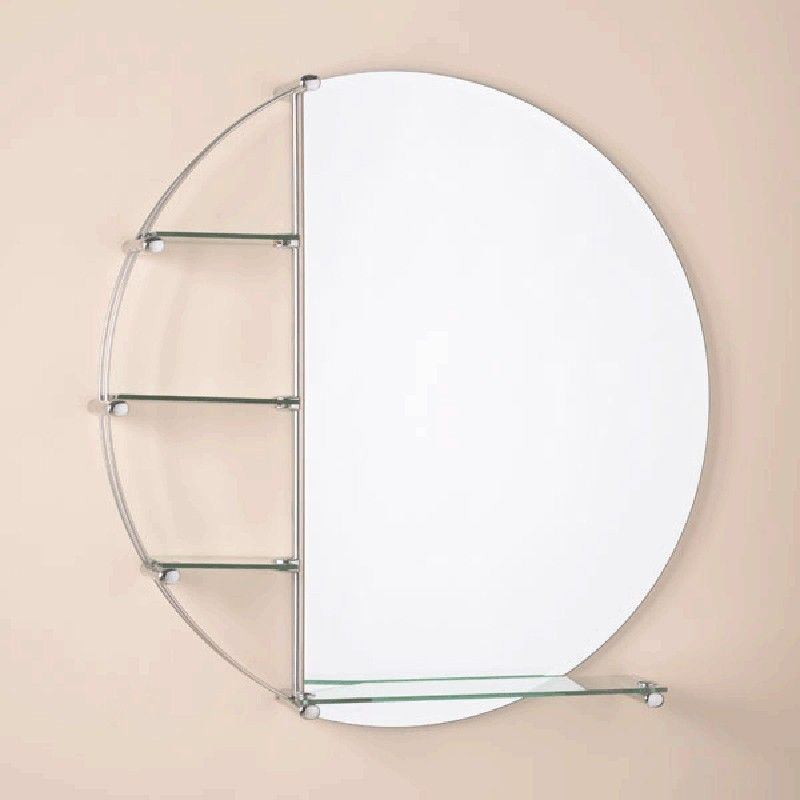800mm Orion Bathroom Mirror with glass shelves in a chrome ...