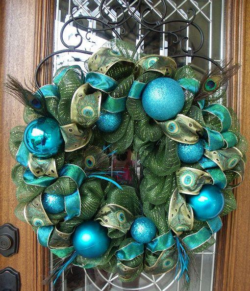 Peacock Christmas wreath!!  I love the colors