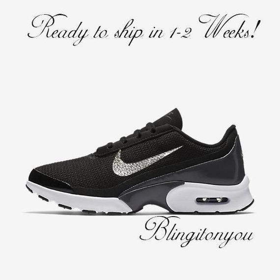 56cb3915bc5be5 New Swarovski Nike Women s Air Max Jewel Black Shoes Custom Blinged with Clear  Swarovski Crystal Rhi