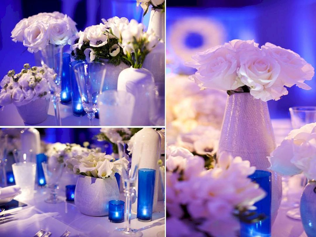 Blue and white wedding decor   Best Inspirations Blue and Purple Up Lighting Wedding Ideas