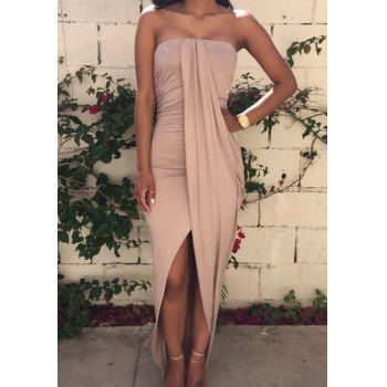 Sexy Strapless Sleeveless Asymmetrical Solid Color Women's Dress (KHAKI,L) in Club Dresses | DressLily.com