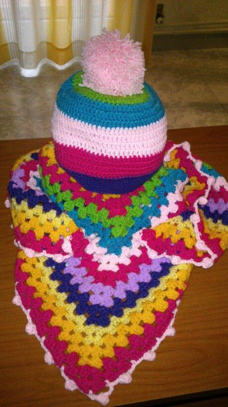 Conjunto a crochet niña, multicolor.