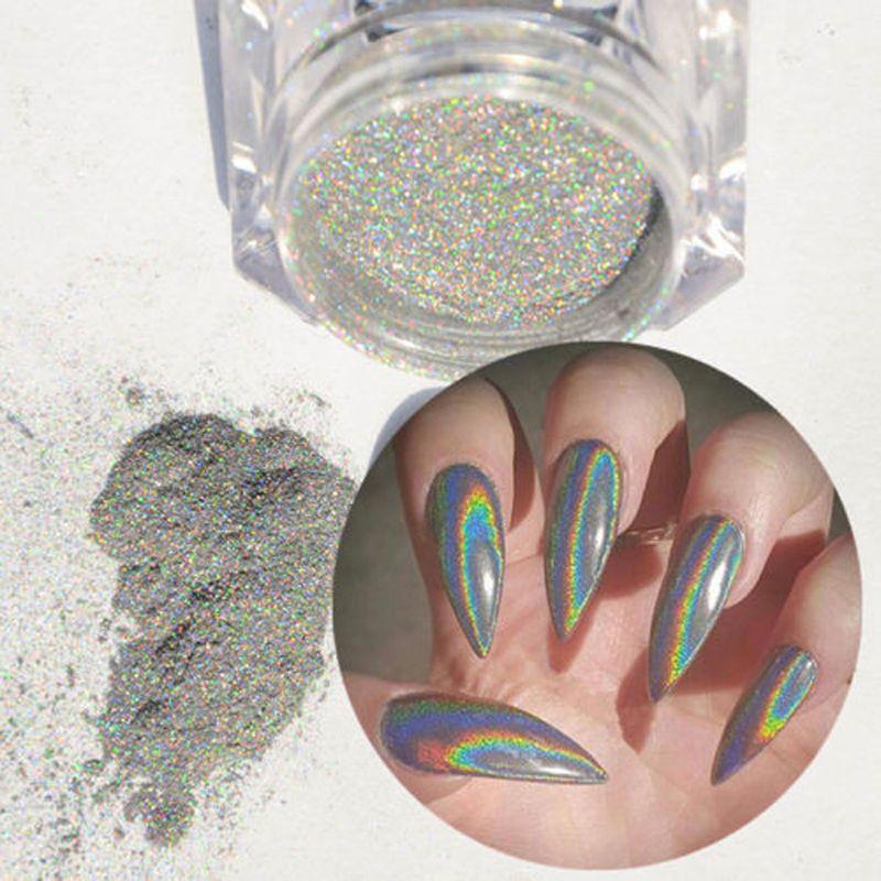 Extra Fine Holographic Chrome Nail Art Powder: Silver Holographic Holo Glitter Powder Chrome Nail Art