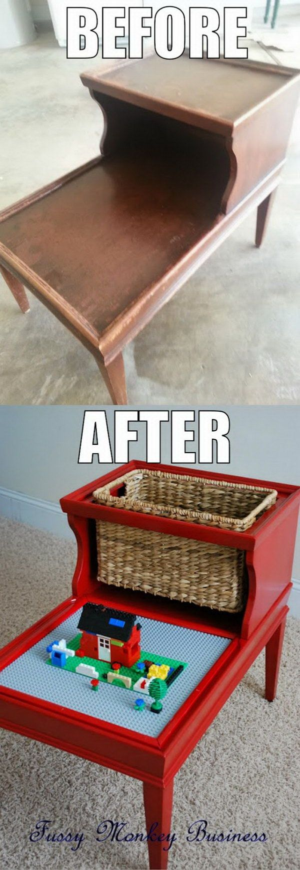 DIY LEGO table made from an old