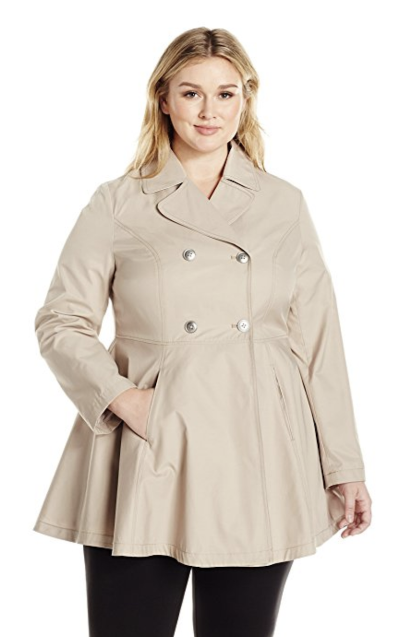 7346d542add Lark   Ro Women s Plus Size Fit and Flare Trench Coat Coat