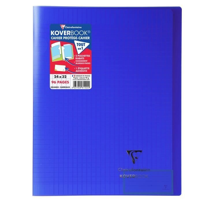 CLAIREFONTAINE Koverbook Carnet de notes 96 pages à rabats – 240 x 320 mm – Papier Seyes PEFC 90 g – Bleu marine   – Products