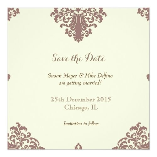 Save the date wedding invitation card damask Wedding invitation - fresh wedding invitation card on whatsapp