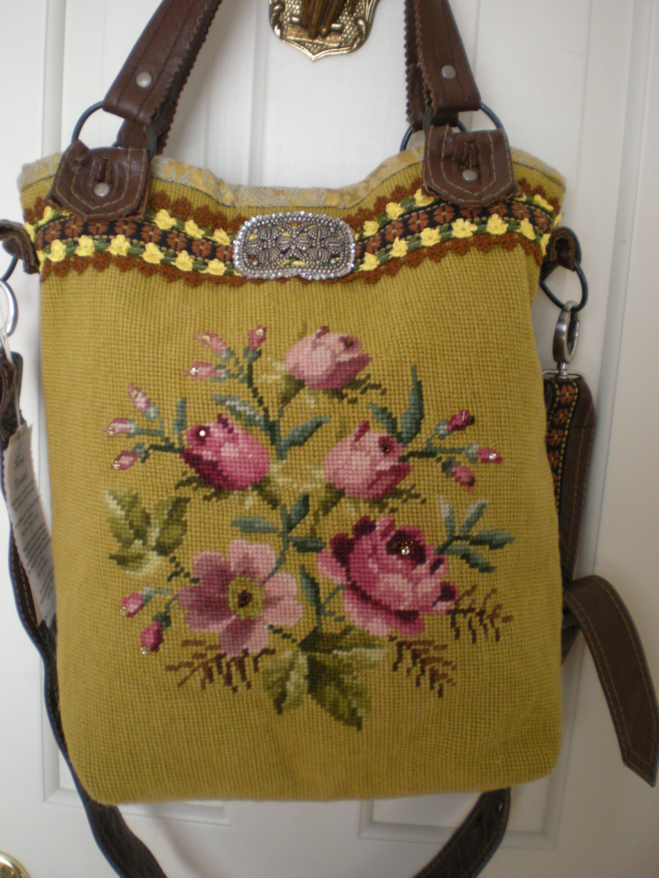 23c27a7a7 ♥needlepoint bag- like the leather finishing, uses a piece of vintage  needlepoint