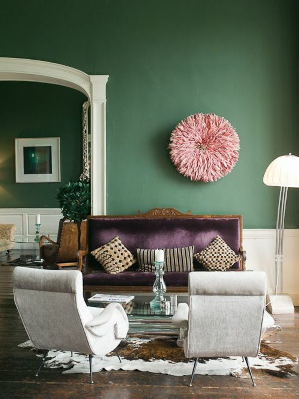 grün farbideen wandgestaltung rosa wandfarbe Arbeitszimmer - farbe gruen akzent einrichtung gestalten