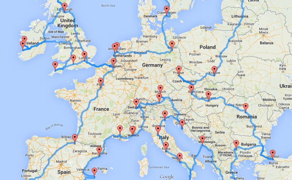 Europe road trip map by randy olson bucket list for Randys fishing trips