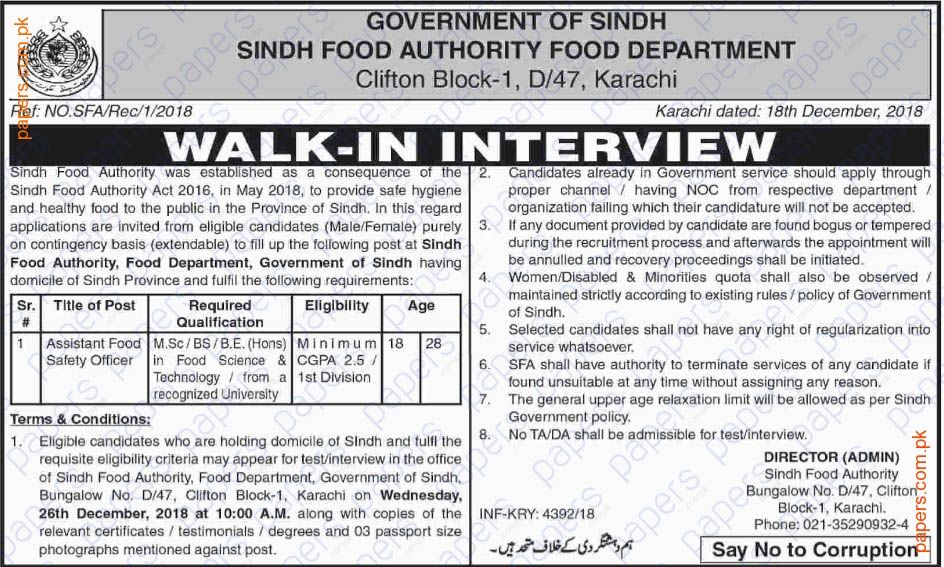 Jobs In Sindh Food Authority Karachi Government jobs in