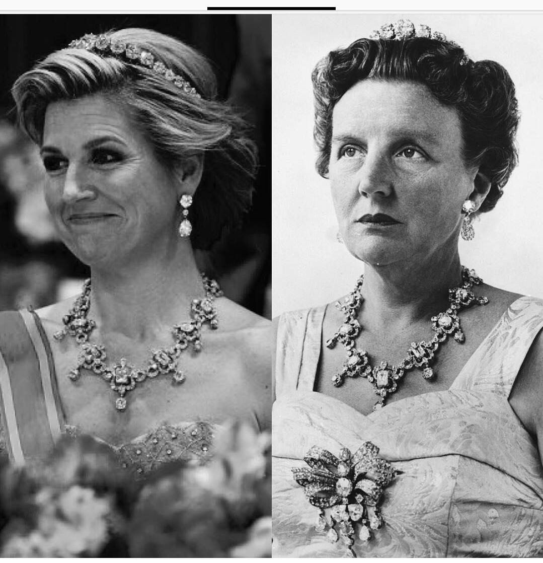 Queen Maxima and Queen Juliana wearing the same jewels