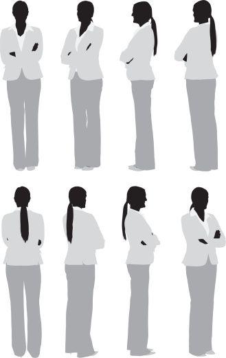 Vectores libres de derechos: Businesswoman standing with her arms crossed