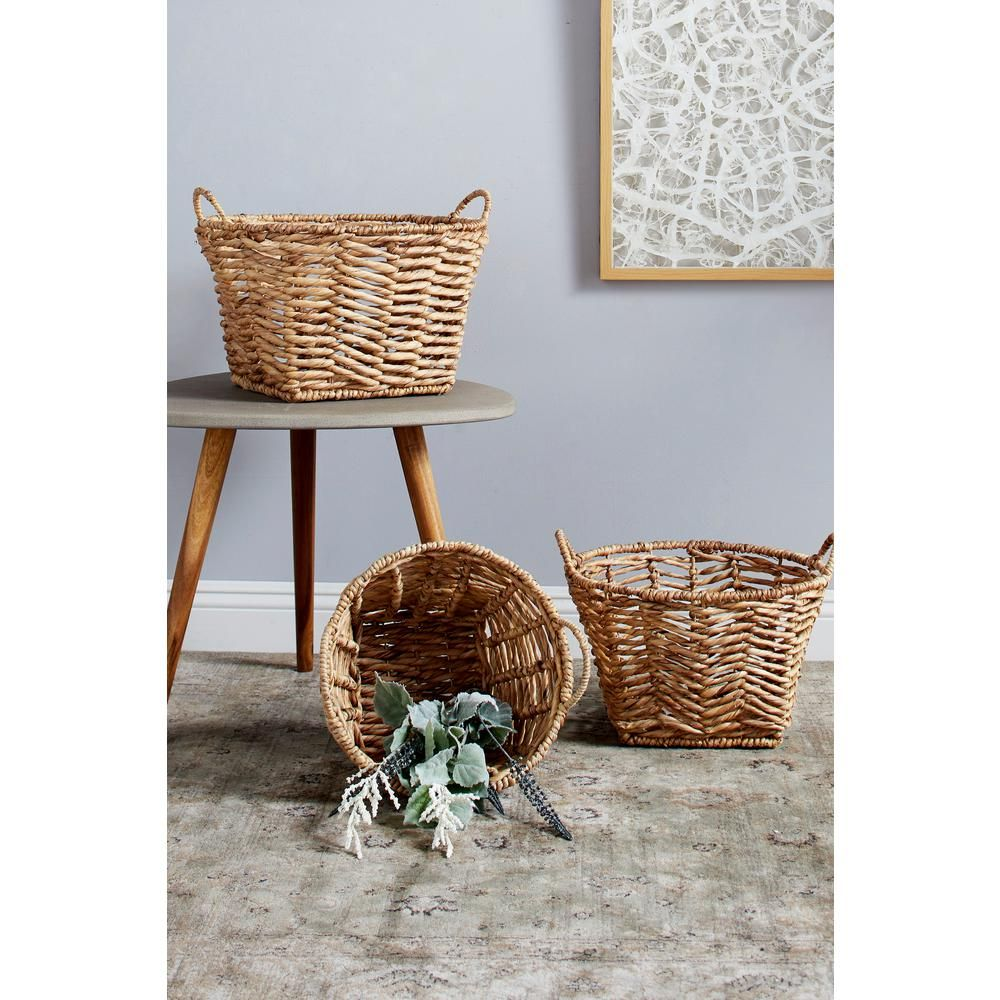Litton Lane Rounded Water Hyacinth And Metal Storage Wicker