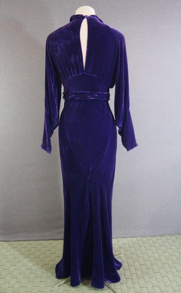 Vtg 30s Deco Purple Silk Velvet Bias Cocktail Party Dress Rhinestone Buckle XS S   eBay