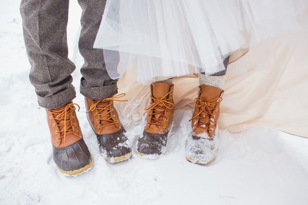 matching snow boots for couple pictures after ceremony