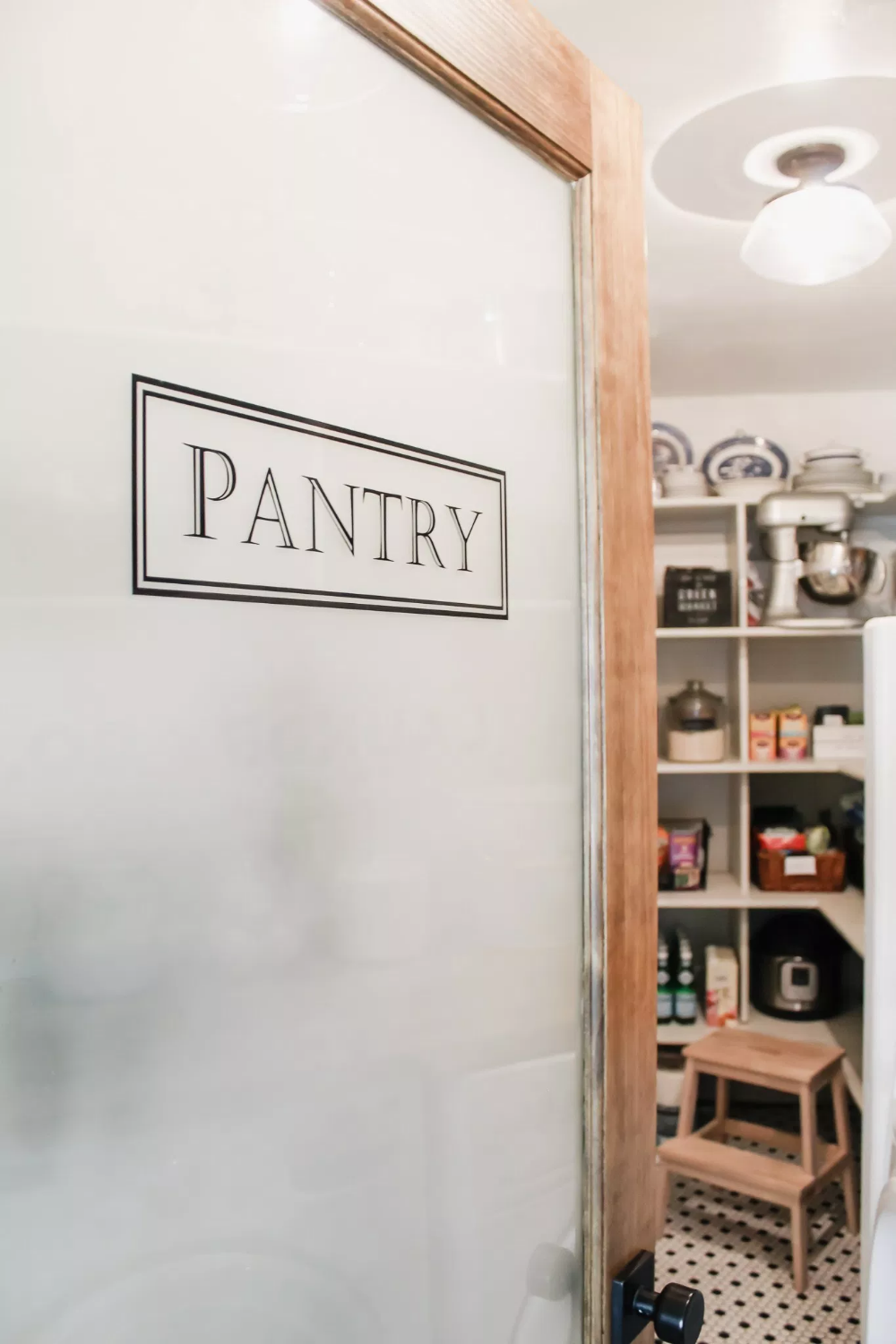 DIY Farmhouse Pantry Door Pantry, Frosted glass sticker