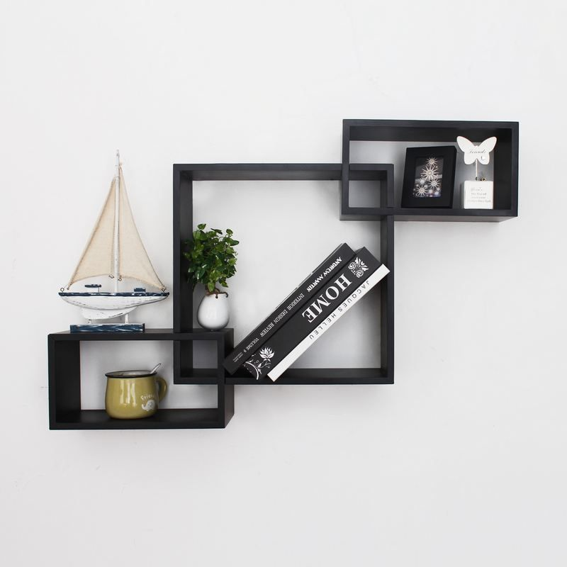 Adeco Black Wood Interlocking Floating Wall Shelves Shelf Black
